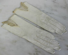 Antique Gloves Pair of White Leather Gloves with Black Stitched Trim