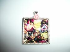 JEWELRY NECKLACE PENDANT 25x25mm CAMEO CABOCHON ENGLISH COTTAGE & ROSES OOAK
