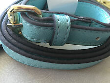 NEW CLIP-ON BLUE /GOLD FAUX LEATHER FLAT REPLACEMENT SHOULDER STRAP ANNE KLEIN))