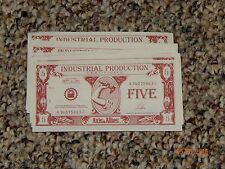 AXIS & ALLIES 1984-87 Milton Bradley INDUSTRIAL PRODUCTION CERTIFICATES 10 Fives