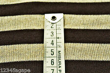 B42 COTTON BLEND FINE SINGLE JERSEY BROWN & LIGHTBEIGE MARL STRIPE MADE IN ITALY