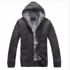 Dark grey Winter Mens Cardigan Sweater Wool Lining Hoodie Knitted Jacket Coat