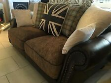 Tetrad Style Sofa In Fabric & Leather Cushions Included 3&2 Included