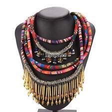 Collier de femmes vintage ethnique corde multicouches tisser chaînes Boho IS