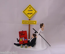Wedding Reception Party Just Married No Fishing  Beer Drunk Tackle Cake Topper