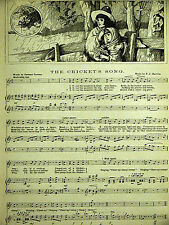 Cooper & Hatton CRICKET'S SONG Musical Score 1887 Antique Print Matted