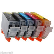 5 x Canon CLI-521 & PGI-520 Bk CHIPPED Inkjet Cartridges