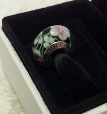 Genuine Pandora Murano Glass Charm Bead Wild Light Pink Flowers S925 ALE