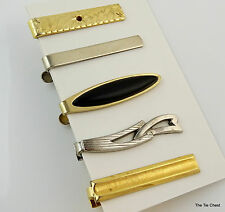 "Tie Clip Bar Clasp 1.5"" Lot of 5 Gold Tone and Silver Tone Mix"