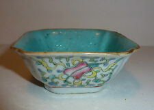 Chinese Antique Porcelain Small Bowl Dish Turquoise glaze & Treasures Objects