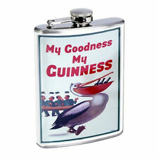 Vintage Poster D23 Flask 8oz Stainless Steel  My Goodness Guinness Beer Pelican