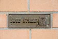 "NEW Wall Plaque, ""SHE SHED"". Featuring Golden Fleece Wayne 605 Bowser, Gas Pump"