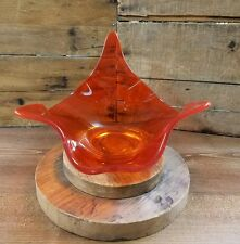 Vintage Mid Century Modern Retro Abstract Glass Coffee Table Bowl Orange