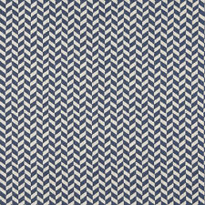 A0004E Blue Off White Herringbone Check Designer Upholstery Fabric By The Yard