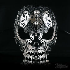 Full Face Skull Mask - Day of the Dead Masquerade Mask for Women M7153 [Silver]