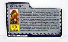 GI JOE ROCK VIPER FILE CARD Vintage Action Figure HALF CUT / GOOD SHAPE 1990