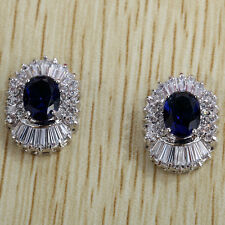 Silver Plated Oval Round Blue Crystal Cubic Zirconia Sapphire Stud Earrings Gift