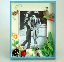 "PICTURE FRAME BEES BEETLES DRAGON FLY PRAYING MANTIS FLOWERS 5"" X 7"" PICTURE"