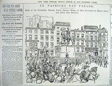 BEST 1892 poster-like display newspaper ST PATRICKS DAY PARADE in New York City