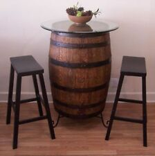 "Whiskey Barrel Table c/30"" Glass Top-Wrought Iron Stand-(2) 29"" Bar Stools"