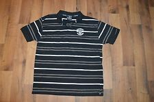 Rare GUINNESS Mens Large Short Sleeve Casual Beer Promo Polo Shirt Black Striped