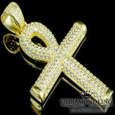 "Yellow Gold Over 925 Sterling Silver 1.75"" Egyptian Ankh Cross Charm Pendant New"