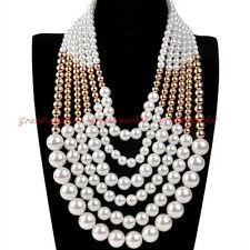 Fashion Gold Chain White Gold Resin Pearl Choker Statement Pendant Bib Necklace