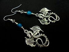 A PAIR OF TIBETAN SILVER DANGLY   DRAGON & TURQOISE BEAD  EARRINGS. NEW.
