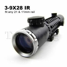 3-9X28 Red Illuminated Hunting Tactical Rifle Scope with 3 Side 20mm Weaver Base
