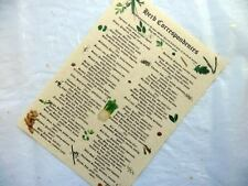 HERB CORRESPONDENCES PARCHMENT POSTER wicca pagan print art magic witch spell