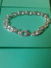 Link Chain Bracelet / Bangle - 925 Stamped Silver birthday lady men gift +bag