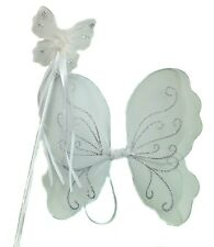 White Fairy Christmas Angel Wings And Wand Fancy Dress Sse For Girls Dressing Up