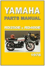 YAMAHA Parts Manual RD400 RD400E and RD250 RD250E 1978 Replacement Spares List