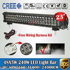 "4D+ 5W Cree 23inch 240W Work Fog Lamp LED Light Bar Spot Flood PK Osram 24"" 200W"