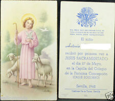 OLD FIRST COMMUNION REMEMBRANCE HOLY CARD YEAR 1962 ANDACHTSBILD SANTINI   C1061
