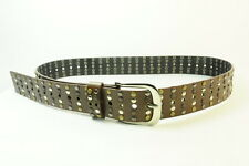 COOL RETRO SIMPLE BROWN LEATHER BELT WITH SILVER/BROWN/BRONZE STUDS(SC38)