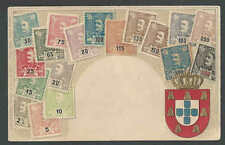 Ca 1907 Portugal 1895-1905 Stamp Set Portrayed On Used Card W/Coat Of Arms