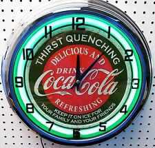 "17"" Drink Coca-Cola Thirst Quenching Coke Sign Neon Clock"