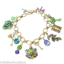 Kirks Folly Enchanted Forest Green Man Charm Bracelet with Hand-Enameled Charms