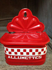 Red Check Old French Enamelware Allumettes / Match Container
