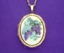 Porcelain Purple & White LILACS CAMEO Costume Jewelry GT Locket Pendant Necklace