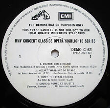 EMI Demonstration Record HMV Concert Classics Opera Highlights Series DEMO C 63