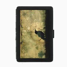 Crow D3 Black Cigarette Case / Metal Wallet Goth Dark Black Bird Raven