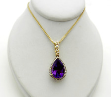 Real 14k Yellow Gold Tear Drop Shape Amethyst Diamonds Halo Pendant Necklace