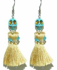 DAY OF THE DEAD SKULL TASSEL HALLOWEEN DANGLE EARRINGS (H327)