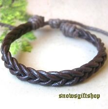 2 Men's Trendy Braided Leather Fashion Surfer Biker Hip Hop Bracelet Wristband