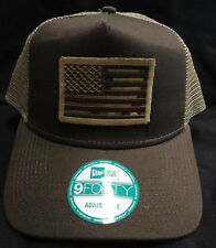 New Era Brown/Tan Mesh Snapback Hat /  Cap With American Flag Camo Patch