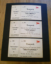 White Star Line, RMS Titanic, Olympic & Britannic Launch Tickets, 1910 to 1914