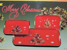 PRISTINE VINTAGE RED LACQUER WARE CHRISTMAS TREE SET of 3 NESTING TRAYS -MINT