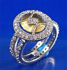 925 SILVER 2-TONE OVAL RING W/PAVE SET ROUND CZ ALL AROUND, SZ-7, 1.20CTS